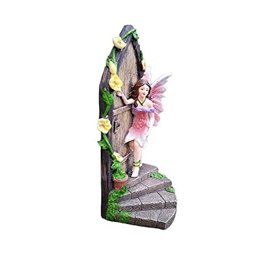 Miniatur Statue Decor,Feentür Garten, Feenfenster, Baumstamm Deko, wetterfest, Baumdeko zum Aufhängen, Fairy Door,Miniaturtür Statue Decor Resin Fairy an der Tür