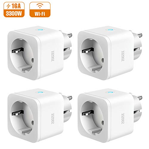 Enchufe Inteligente Zoozee WiFi Enchufe Smart 16A Inteligente Plug Compatible con Google Home Amazon Alexa, App Control en Cualquier Lugar y Tiempo, No Requiere Hub (4 PACK)