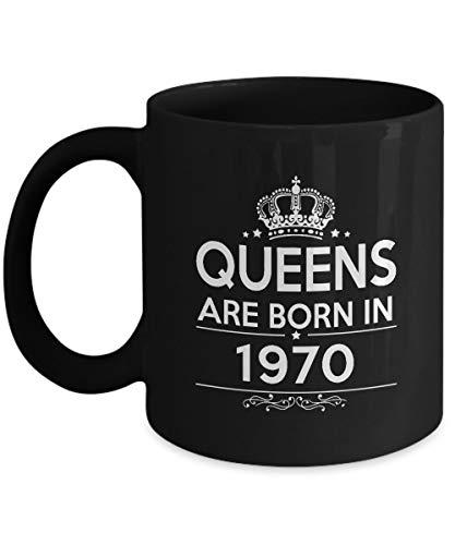 N\A Taza de 47 cumpleaños - Queens Nacen en 1970 Taza de café - Regalos sarcásticos para Mujeres, mamá, Hermana, Hija, Novias - en cumpleaños, Navidad, San Valentín - Taza de té de cerámica Negra