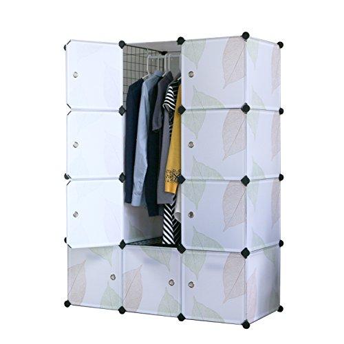 UNICOO - DIY 12 Cube Organizer, Bookcase, Kids Toy Organizer, Storage Cabinet, Wardrobe Closet (Deeper, Green Leaves)