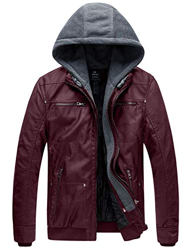 Wantdo Men's Faux Leather Jacket with Removable Hood Wine Red Large