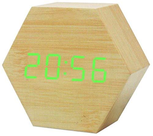 MJ-Alarm Clock Affichage de la température par LED Horloge en Bois, commutateur Vocal 12/24 Heures Alimentation USB Réveil Hexagonal
