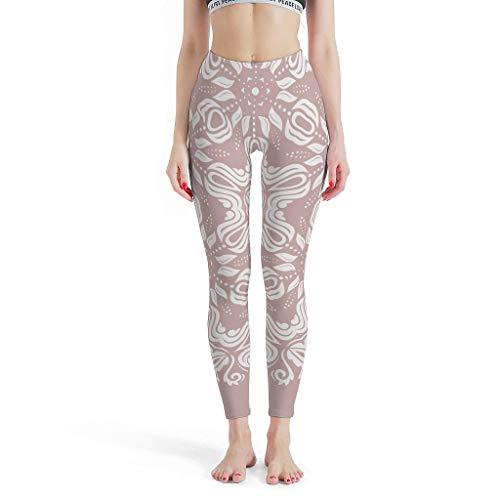 XHJQ88 -Witte Vrouwen Zachte Enkel Broek, Mandala Stijlvolle Leggings Misty Rose Mandala Thema Mode Gedrukte Leggings Stretchable Broek voor Vrouwen