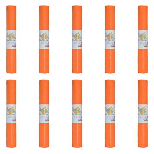 Hello Fit Kids Short Yoga Mat, Easy to Clean, Non-Slip Exercise Mat, 10 Pack, Orange