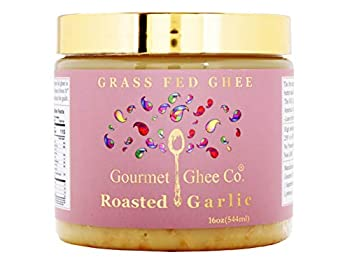 Gourmet Ghee Co - Roasted Purple Garlic Ghee Clarified Butter - Grass-Fed Pasture-Raised Non-GMO Lactose & Casein Free All-Natural Ingredients Roasted Garlic 16 OZ