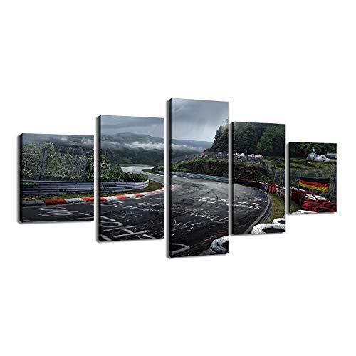 LIVELJ Poster,5 Teilig Leinwand stück Kunstdruck modern Wand Aufhängen Home Dekoration Bild Design HD Panel/Nürburgring-Rallye/Mit Holzrahmen