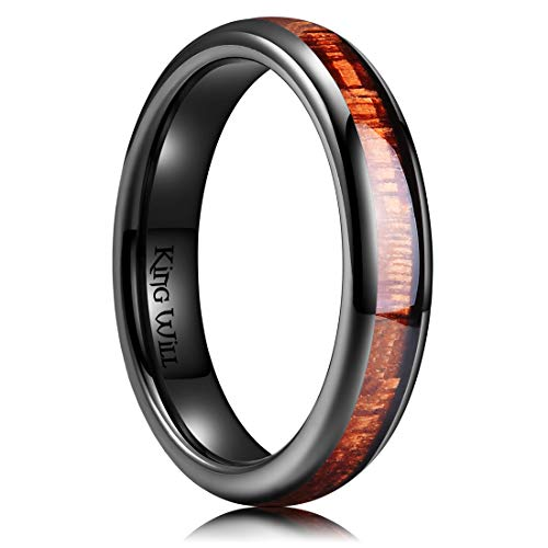 King Will Nature 4mm Black Domed Koa Wood Ceramic Ring Wedding Band Polished Finish Comfort Fit 9.5