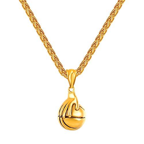 Inveroo Colgante de Bola Acero Inoxidable Color Oro Mano Collar de Baloncesto Mujeres Deporte Gimnasio Collares y Colgantes Hombres Joyas