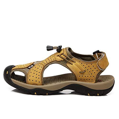 Sandali da spiaggia uomo traspirante antiscivolo morbido in pelle piatta casual scarpe acqua calzature estate usura resistente sandalo per piscina nuoto Diving