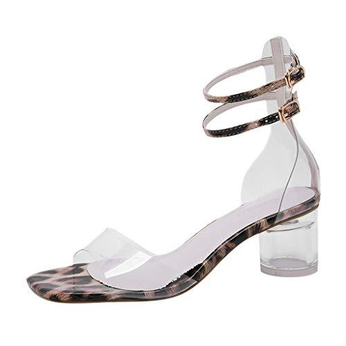 Sandalias de Verano, Nuevas Mujeres de Moda de Verano de PVC de tacón Alto Sandalias de Punta Cuadrada Zapatos de Fiesta Sexy (Oro, 35)