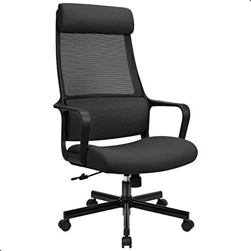 Sedia da Ufficio, Sedia Schienale Alto Scrivania, Ergonomica con Supporto Lombare per Poggiatesta e Bracciolo Regolabile Sedia per Computer