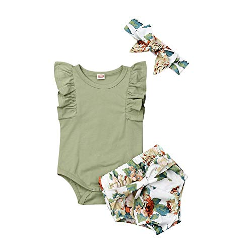 Newborn Baby Girl Organic Cotton Ruffled Sleeve Bodysuit Tops + Floral Shorts Baby Girl Clothes Set (A2 Green, 0-6 Months)