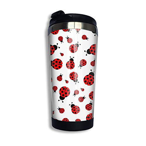 Ladybug Ladybird Seamless Pattern1 Travel Coffee Mug with Flip Lid Flower Stainless Steel Tumbler Cup Water Bottle Mother S Day Birthday Mug