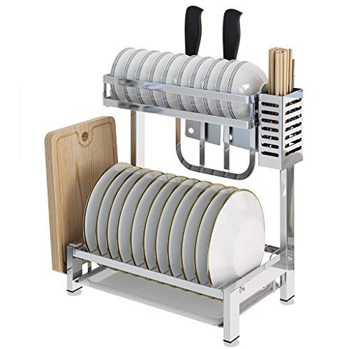 WYQ Égouttoir Vaisselle INOX 2 Niveaux, séchoir à Vaisselle avec Planche de Drainage, égouttoirs à Couverts, Porte-Planche à découper (Taille : 35.3cm × 22cm × 40.8cm)
