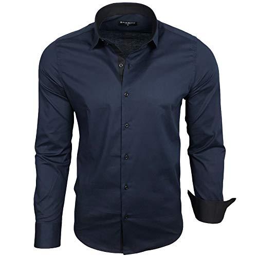 Baxboy Herren-Hemd Langarm/Business Freizeit Hochzeit/Bügelleicht/Slim-Fit/Anzug Kentkragen Hemd B-500, Größen:L, Farbe:Navy