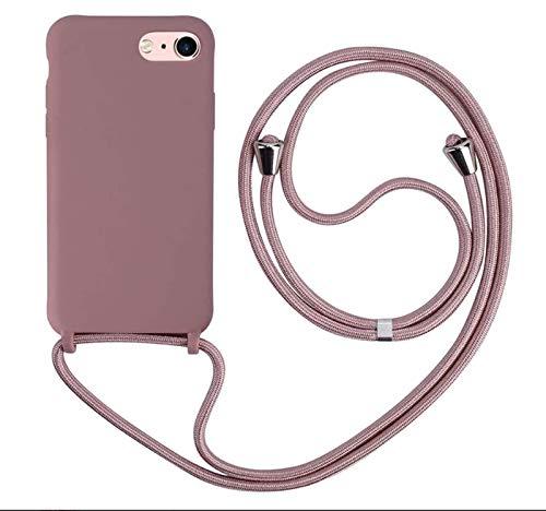 MEVIS Liquid Silikon Handykette Hülle für iPhone 6/6S/7/8 Plus(5.5),Verstellbarer Halskette Silikon Handyhülle-Lotus Farbe