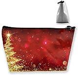 Weihnachten Golden Tree Makeup Bag Große Trapez Aufbewahrung Reisetasche Waschen Kosmetikbeutel Stifthalter Reißverschluss Wasserdicht Tragbar 7494
