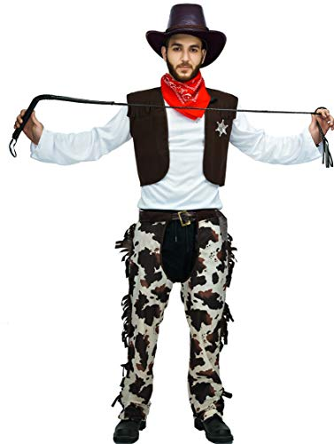 Men's Cowboy Adult Costume Set - Halloween - Vest | Chaps | Hat | Neckechief