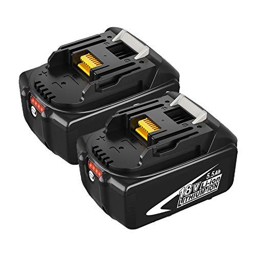 Topbatt 2 Piezas 5.5Ah Batería de Repuesto para Makita Batería de 18V BL1860B BL1850B BL1830 BL1830B BL1860 BL1835 BL1845 BL1850 194205-3 LXT-400 con Pantalla LED