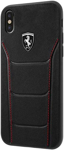 Ferrari Phone Case for iPhone X and iPhone Xs Hard Case Genuine Leather Heritage 488 Black | Easily Accessible Ports | Officially Licensed.