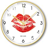 LIUFEI Relojes de Pared Reloj de Pared Marco de Metal Decoración de la Pared, patrón Creativo Cuarzo Reloj silencioso Mute (Color : G)
