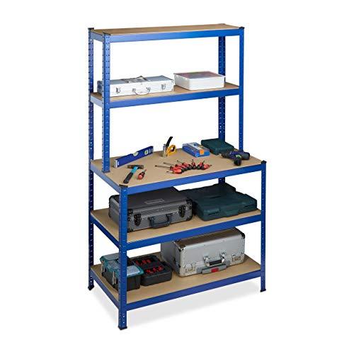 Relaxdays Schwerlastregal, mit Werkbank, Traglast 900 kg, 5 Ebenen, zum Stecken, Keller, 180x100x60 cm, Stahl, MDF, blau