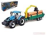 Burago BU31655 New Holland T7.315 Tractor + Trailer Wooden LOGS cm 26 Die Cast Compatibile con