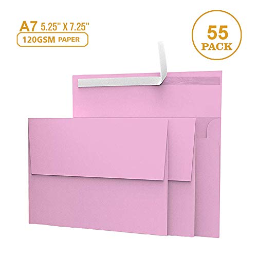 55 5x7 Pink Invitation Envelopes - for 5x7 Cards - A7 - (5 ¼ x 7 ¼ inches) - Perfect for Weddings, Graduation, Baby Shower - 120 GSM - Peel, Press & Self Seal - Square Flap