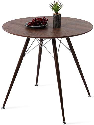 DORAFAIR Runder Esstisch Dunkle Holzfarbe Beistelltisch,MDF Küchentisch mit Walnusskorn Transfer Eisen Beine und weißer Rahmen, 80 * 75cm
