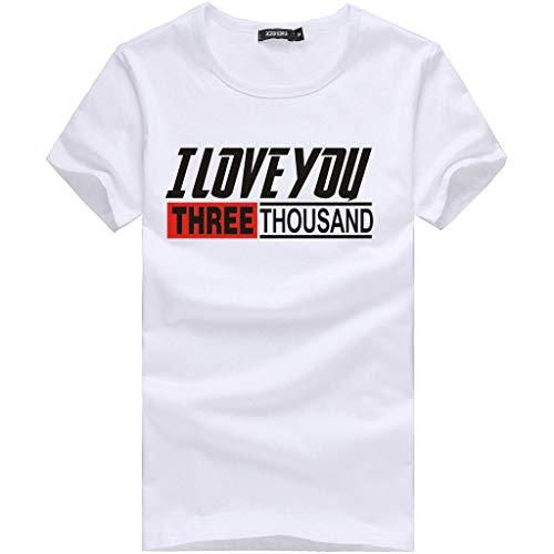 riou Camiseta para Hombre, Verano Moda Originales Estampada I Love You Three Thousand 3000 Fans Shirt Casual T-Shirt Blusas Camisas Simple Suave básica Slim Fit Camiseta