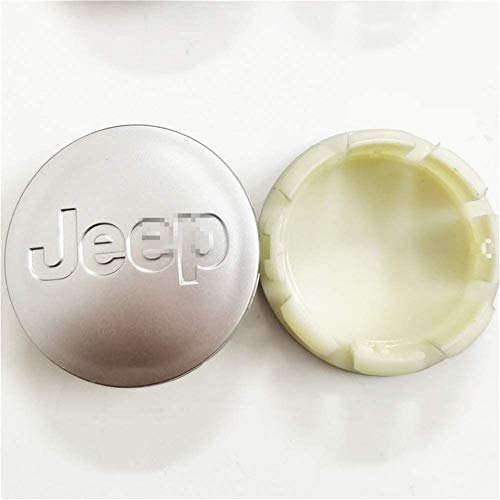 4 piezas de tapa de cubo central de rueda de coche de 64 mm para Jeep Grand Cherokee Wrangler Rubicon Compass Patriot Cherokee, cubiertas con pegatinas de logotipo, accesorios de coche