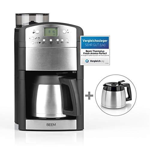 BEEM Fresh-Aroma-Perfect Thermolux | Kaffeemaschine mit Mahlwerk für Kaffeebohnen und Filterkaffee | Inkl. 2 Isolierkannen | Permanentfilter | Timer [1000 Watt/silber]