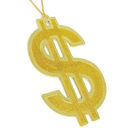 Skeleteen Hip Hop Gold Necklace - Rapper Dollar Sign Medallion Gangster Golden Chain Costume Bling Jewelry