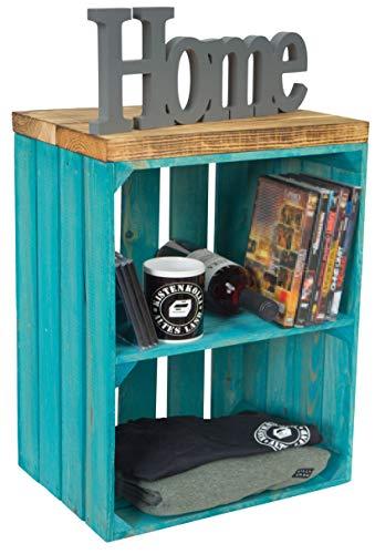 Baúl con asiento, mesa de almacenamiento, caja de fruta Johanna y tablas de madera maciza, zapatero, taburete de madera, tamaño 40 x 29 x 50 cm (largo x ancho x alto) (turquesa y tablón flameado)