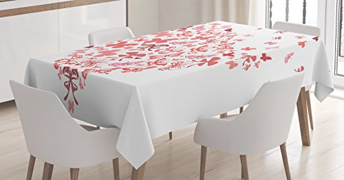 Ambesonne Love Tablecloth, Butterfly Heart for Valentine's Day Anniversary Illustration Celebration Theme Artwork, Rectangular Table Cover for Dining Room Kitchen Decor, 52