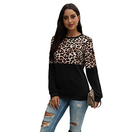 N/A. Caliente otoño mujeres manga larga casual suelta camisetas Streetwear Plus tamaño S-2XL,cuello redondo sudadera leopardo bloque de color patchwork Tops