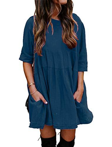 YOINS Sexy Kleid Damen Sommerkleid für Damen Babydoll Kleider Brautkleid Tshirt Kleid Rundhals Langarm Minikleid Langes Shirt Lose Tunika Strandkleid Kurzarm-Hellblau XL