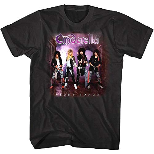 Cinderella Night Songs Album Art Men's T Shirt 80's Glam Rock Band Merch, schwarz XL