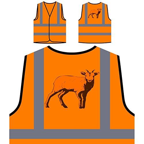 Arte Animal De Cabra Gracioso Chaqueta de seguridad naranja personalizado de alta visibilidad o565vo