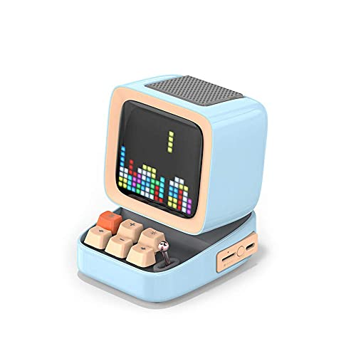 Altavoz portátil Bluetooth, pixel retro Arte Bluetooth Altavoz portátil Alarma, Reloj DIY, 0W Música estéreo Surround, Aplicación Pixel Art mei (Color : Lakeblue)