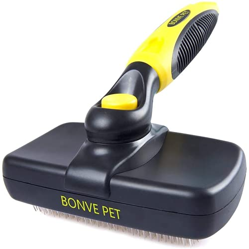 Bonve Pet Dog Brush, Self Cleaning Slicker Brush Pet Grooming Brushes Soft...