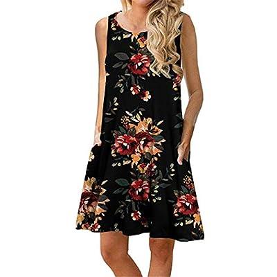 Summer Beach Dresses for Women Sundresses Boho Casual Sleeveless Floral Shift Pockets Swing Loose