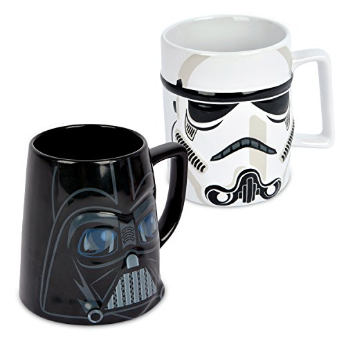 Ideal casa Pack de 2 Tazas de gres. Mugs con Relieve de los Personajes de Star Wars Stormtrooper y Darth Vader