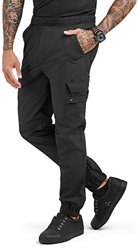 Men's Performance Stretch Jogger Chef Pant (Black, Small)