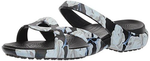 Crocs Women's Meleen Twist Graphic Sandal Flat, Rose/Black, 11 M US