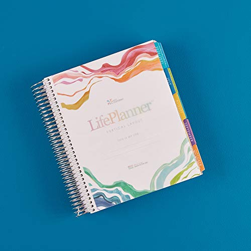 Erin Condren 18 - Month 2020-2021 Kaleidoscope Colorful Coiled Life Planner with Layers Colorful Interior (July 2020 - December 2021) Vertical Weekly Layout. Organizer, Calendar Tabs and Stickers