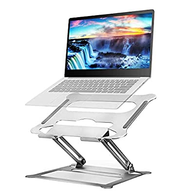 Laptop Stand, Adjustable Notebook Stand Riser with Heat-Vent, Aluminum Ergonomic Portable Stand with Slide-Proof Silicone and Protective Hooks Portable with MacBook Air Pro,Dell,HP,Lenovo and More