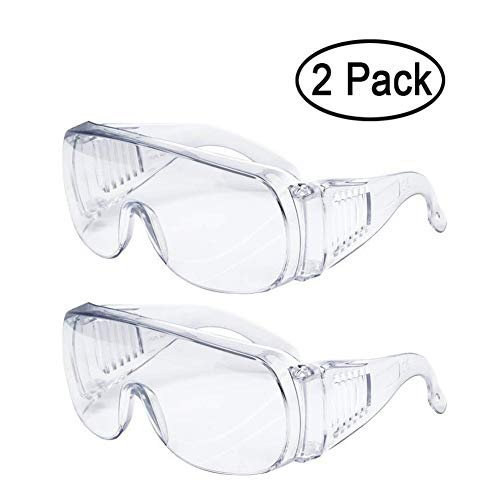 Dricar 2 Pack Anti-vìrus Goggles, Anti-dust Anti Fog Safety Glasses Sports Goggles Anti-Impact Dust-Proof for Sports Skiing Skating Men Women Adults Kids Children, Clear Lens (A-Adult)