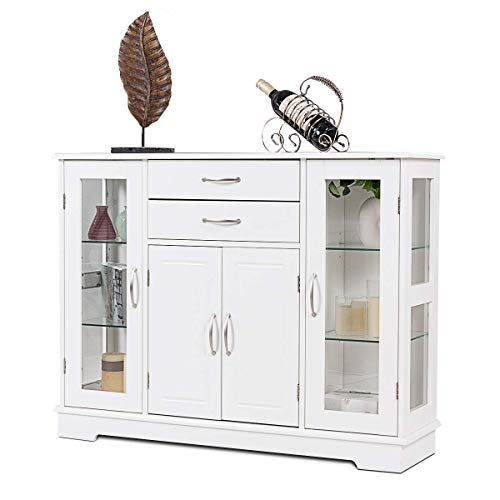 Giantex Sideboard Buffet Server Storage Cabinet W/ 2 Drawers, 3 Cabinets and Glass Doors for Kitchen Dining Room Furniture Cupboard, Console Table (White)