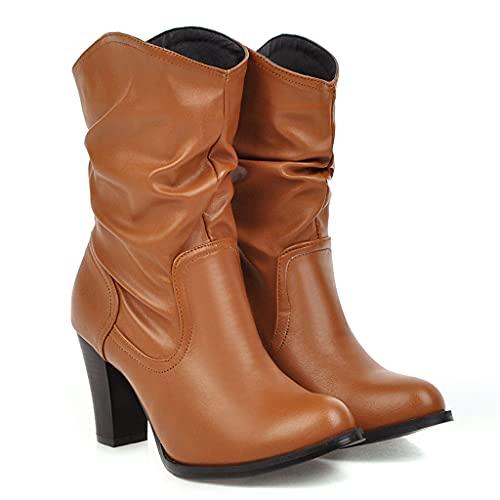 ZHAG Botas Vaquero Occidentales para Mujer,Cuero,Gran tamaño,Botines Caballero,Punta Redonda,Pliegues,Botas Medias,Bota para Caminar tacón Alto a la Moda,Brown-42
